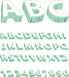 Green Scribble Alphabet Stock Photography