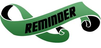 Green scrolled ribbon with REMINDER message. vector illustration