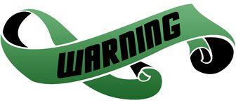 Green scrolled ribbon with WARNING message. Illustration image Royalty Free Stock Images