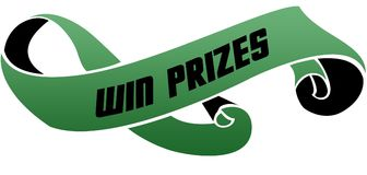 Green scrolled ribbon with WIN PRIZES message. Illustration image Stock Photo