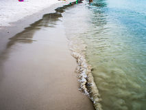 Green sea By the beach walkway The sea rushed to shore. Stock Photography