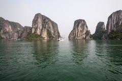 Green sea in Ha Long Bay stock image