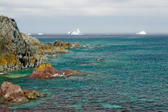 Green sea, iceberg horizon. Eerily green sea in the foreground, white icebergs floating in the distance, fresh from Greenland Royalty Free Stock Images