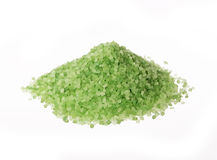 Green sea salt for bathing on white Stock Photo