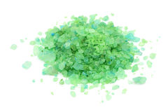 Green sea salt crystals. On a white background Stock Image