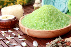 Green sea spa salt Stock Images