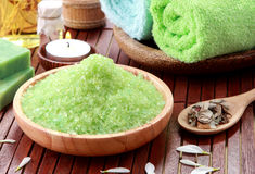 Green sea spa salt Royalty Free Stock Images