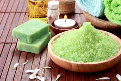 Green sea spa salt Stock Image