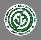 Green Seagoing Environmental Sign. Green Seagoing Environmental Awareness sign over grey Stock Photos