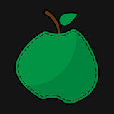 Green seam apple with shadow Stock Image