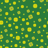 Green seamless background with flowers and hearts Stock Photo