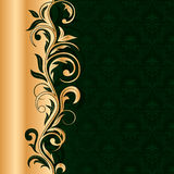 Green seamless background with gold pattern Royalty Free Stock Photo