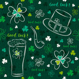 Green  seamless background for Patricks day with beer mug, hat Royalty Free Stock Image