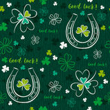 Green  seamless background for Patricks day with horseshoe Royalty Free Stock Image