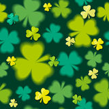 Green  seamless background for Patricks day with shamrock, vecto Stock Photos