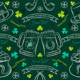 Green  seamless background for Patricks day with symbol and sham Stock Photography