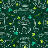 Green  seamless background for Patricks day with symbol and sham Royalty Free Stock Photo