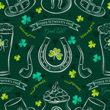 Green  seamless background for Patricks day with symbol and sham Stock Photo