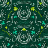 Green  seamless background for Patricks day with symbol and sham Royalty Free Stock Photography