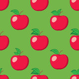 Green seamless background with red apples - vector pattern Stock Photography
