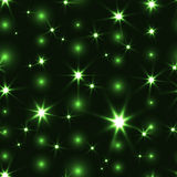 Green seamless background with shiny Christmas chain. Festive motion seamless background in green color. Sparkle shiny glossy beautiful seamless pattern Stock Photos