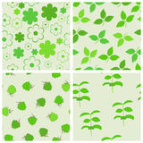 Green seamless backgrounds set. Royalty Free Stock Photo