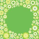 Green seamless border. Green flower summer seamless frame Vector Illustration