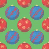 Green seamless christmas pattern with red and blue tree baubles vector illustration