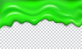 Green seamless dripping slime. Repeatable isolated vector with glares and highlights on transparent background. Graphic concept for your design and buisness stock illustration