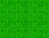 Green seamless financial business background pattern with money icons. A background pattern for business / finance Royalty Free Stock Image