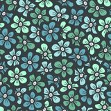 Green seamless flower doodle pattern Stock Image