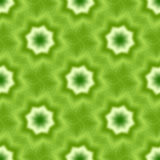 Green seamless fractal based tile with eight point star or flower and leaves Stock Photo