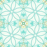 Green seamless fractal based tile with stylized flower design. Seamless fractal based tile with simplified six petals flower design in medical green and yellow Royalty Free Stock Images