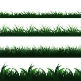 Green seamless grass borders vector set Stock Images