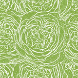 Green seamless monochrome pattern with roses. Stock Images