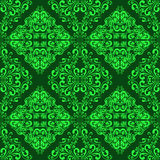 Green seamless ornamental wallpaper. Royalty Free Stock Image