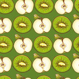 Green seamless pattern with apples and kiwis Stock Photo
