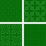 Green seamless pattern background set. Dark green abstract seamless pattern background set Royalty Free Stock Image