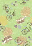 Green Seamless Pattern with Bicycles Stock Image