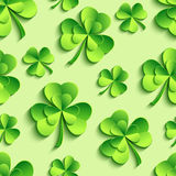 Green seamless pattern with 3d Patricks clover Royalty Free Stock Images