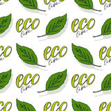 Green seamless pattern. Eco life vector background. Organic natural backdrop. Hand drawn texture for healthy food Royalty Free Stock Photo