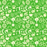 Green seamless pattern with ecology signs Stock Photo