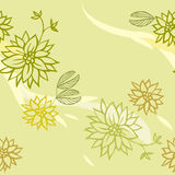 Green seamless pattern with flowers.  Stock Photography