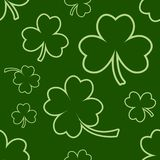 Green seamless pattern with four and tree leaf clovers for Saint Patrick`s Day. Vector vector illustration