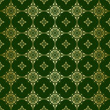 Green vector seamless pattern with golden tracery Royalty Free Stock Photo
