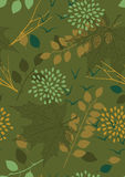 Green Seamless Pattern with Leaves Stock Images