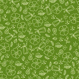 Green pattern with leaves and flowers Stock Photos