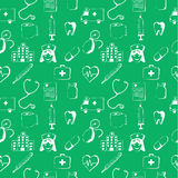 Green seamless pattern-medical items Stock Image
