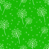 Green seamless pattern with stylized dandelions Royalty Free Stock Images
