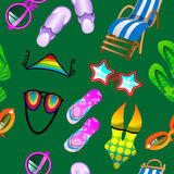 Green Seamless Summer Pattern. Seamless summer pattern with flip-flop, glasses, deck-chair, swimming suit Stock Illustration